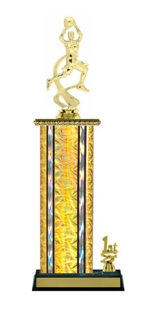 Wide Column with Trim<BR> F Motion Basketball Trophy<BR> 12-14 Inches<BR> 10 Colors