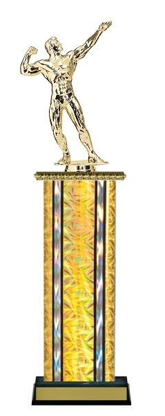 Wide Column<BR> M Bodybuilding Trophy<BR> 12-14 Inches<BR> 10 Colors