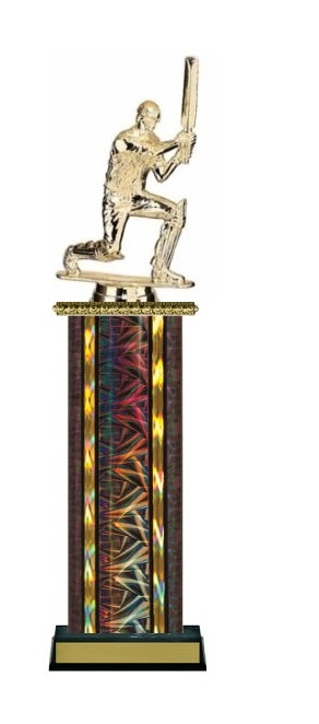 Wide Column<BR> Kneeling Batsman Trophy<BR> 12-14 Inches<BR> 10 Colors