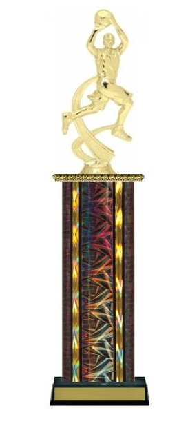 Wide Column<BR> M Motion Basketball Trophy<BR> 12-14 Inches<BR> 10 Colors
