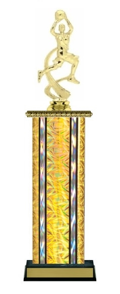 Wide Column<BR> F Motion Basketball Trophy<BR> 12-14 Inches<BR> 10 Colors