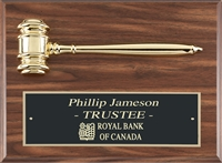 Walnut Finish<BR> Metal Gavel Plaque<BR>  9 x 12 Inches